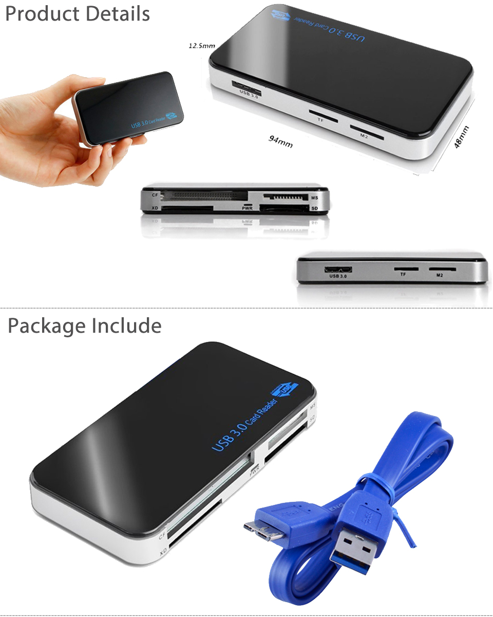 5Gbps All In 1 USB 3.0 Compact Flash Multi Card Reader CF