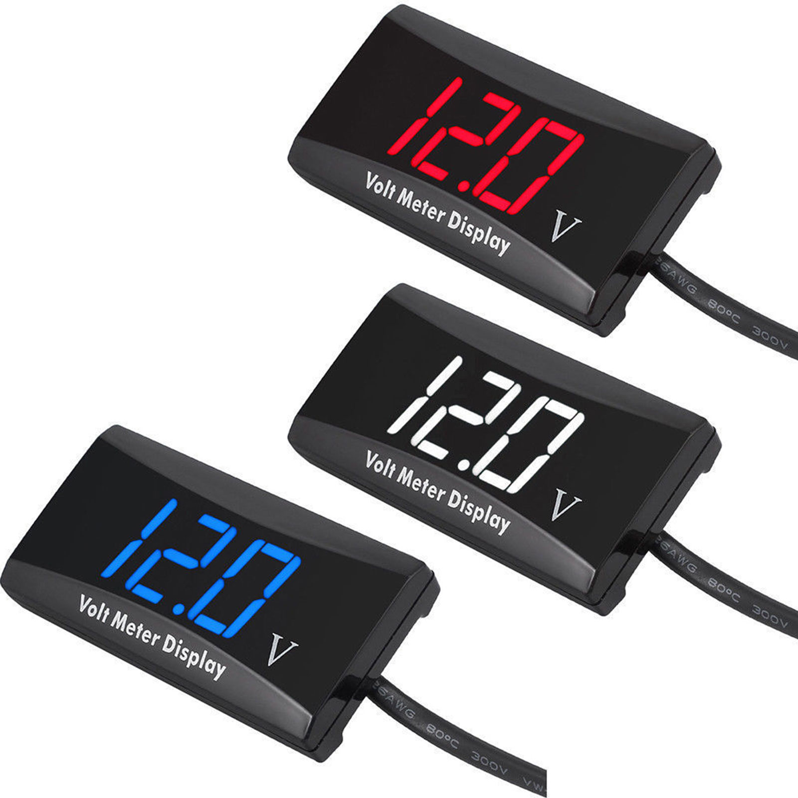 12 Volt Digital Voltmeter : Led digital display voltmeter car motorcycle voltage volt