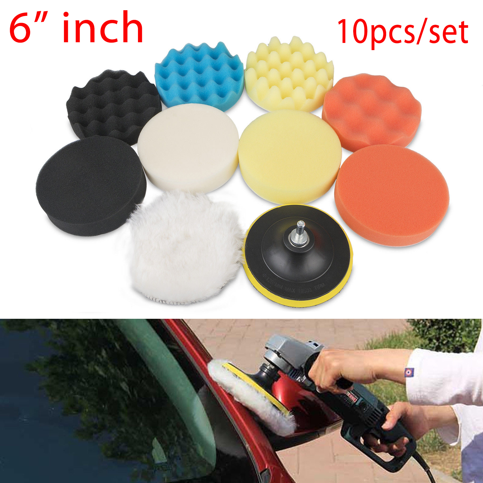 10Pcs-Car-Polisher-3-5-034-6-034-7-034-Sponge-Polishing-Waxing-Buffing-Pads-Kit-Compound