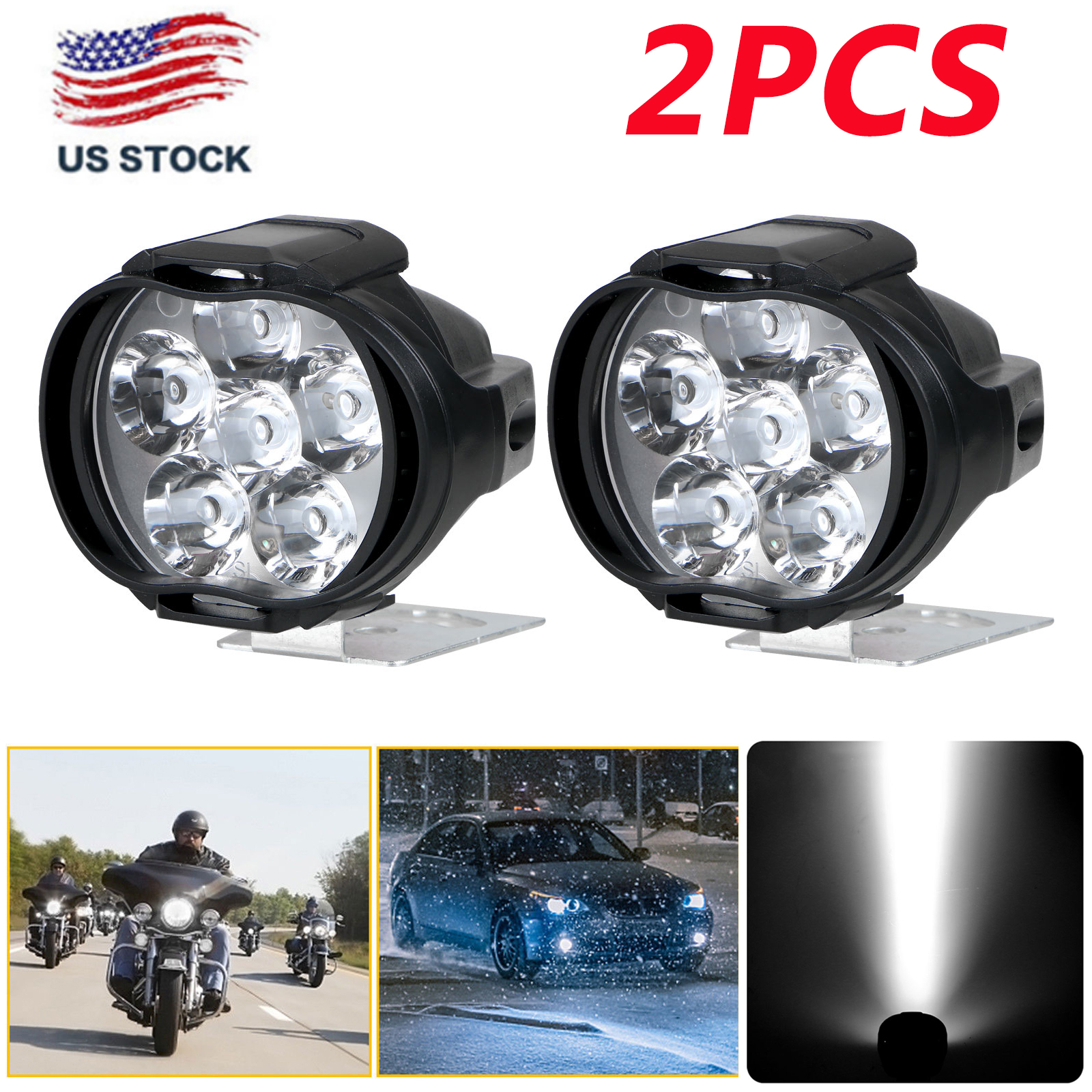 2Pcs-6LED-White-Motorcycle-Headlight-Spot-Light-DRL-Driving-Fog-Lamp-Waterproof thumbnail 10