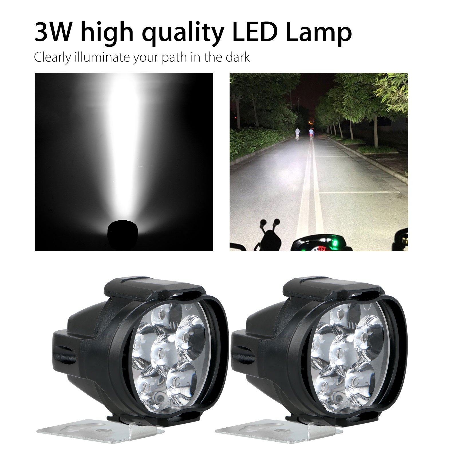 2Pcs-6LED-White-Motorcycle-Headlight-Spot-Light-DRL-Driving-Fog-Lamp-Waterproof thumbnail 3