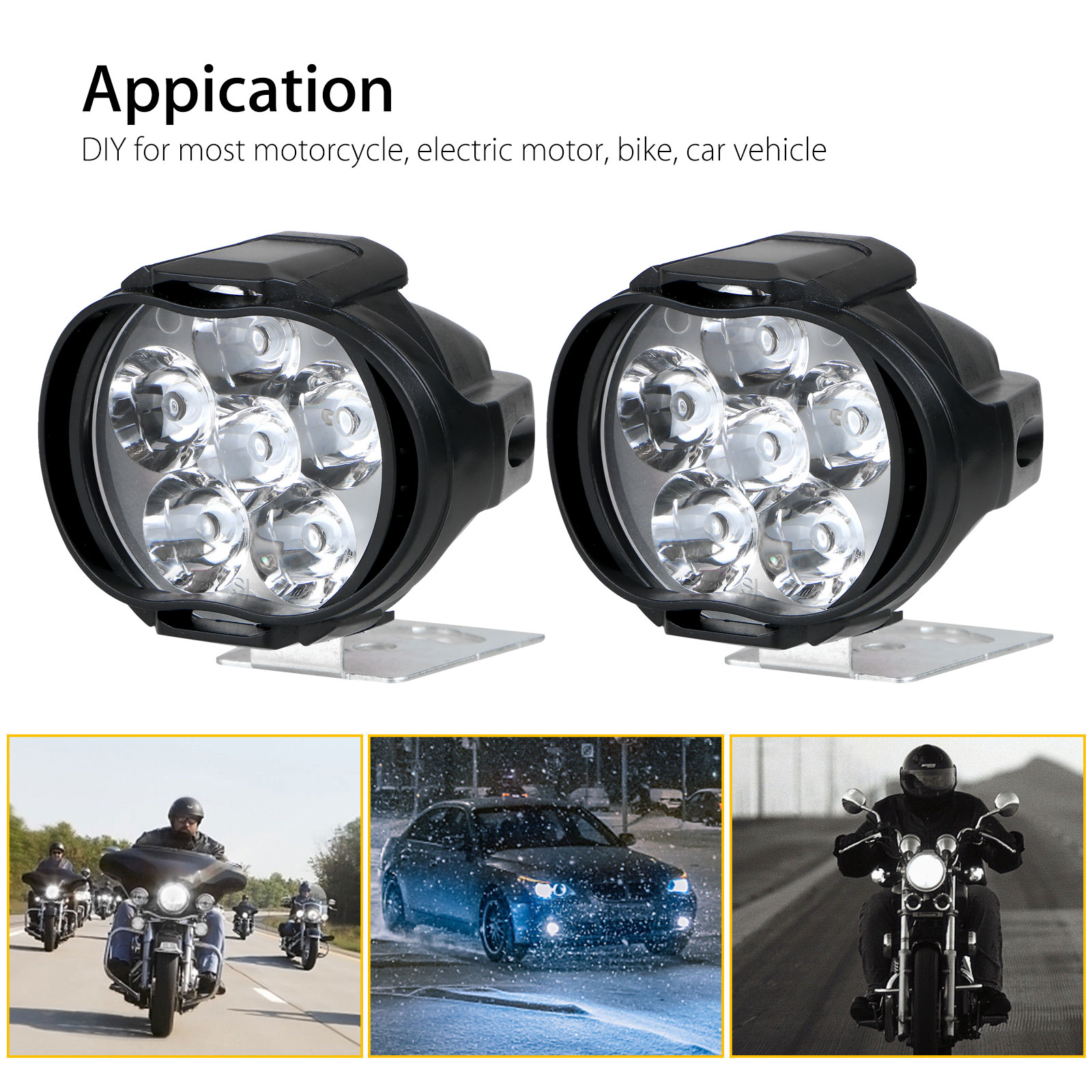 2Pcs-6LED-White-Motorcycle-Headlight-Spot-Light-DRL-Driving-Fog-Lamp-Waterproof thumbnail 5