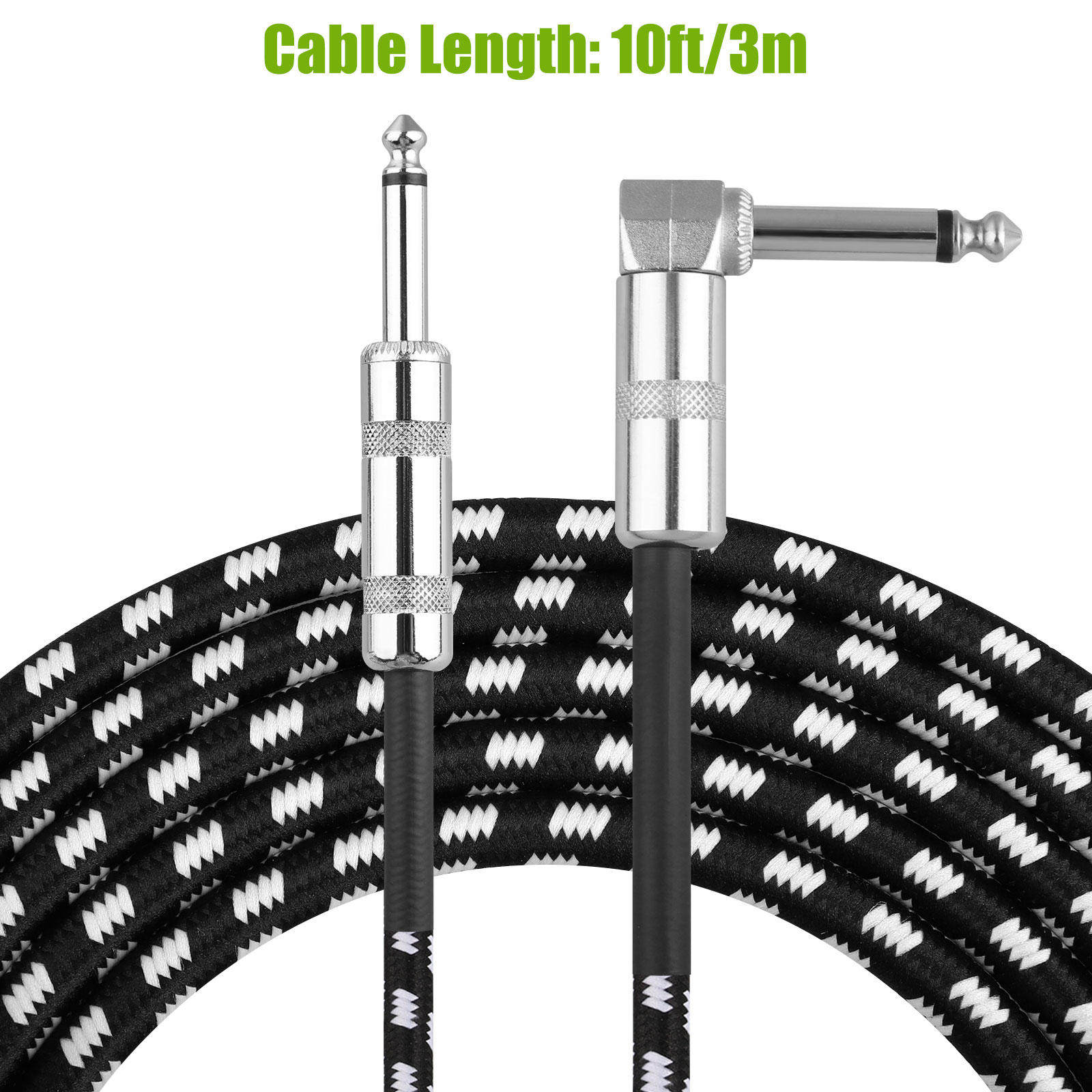 10FT-6-35mm-Jack-Premium-Electric-Guitar-Bass-Cable-Musical-Instrument-AMP-Cord thumbnail 2