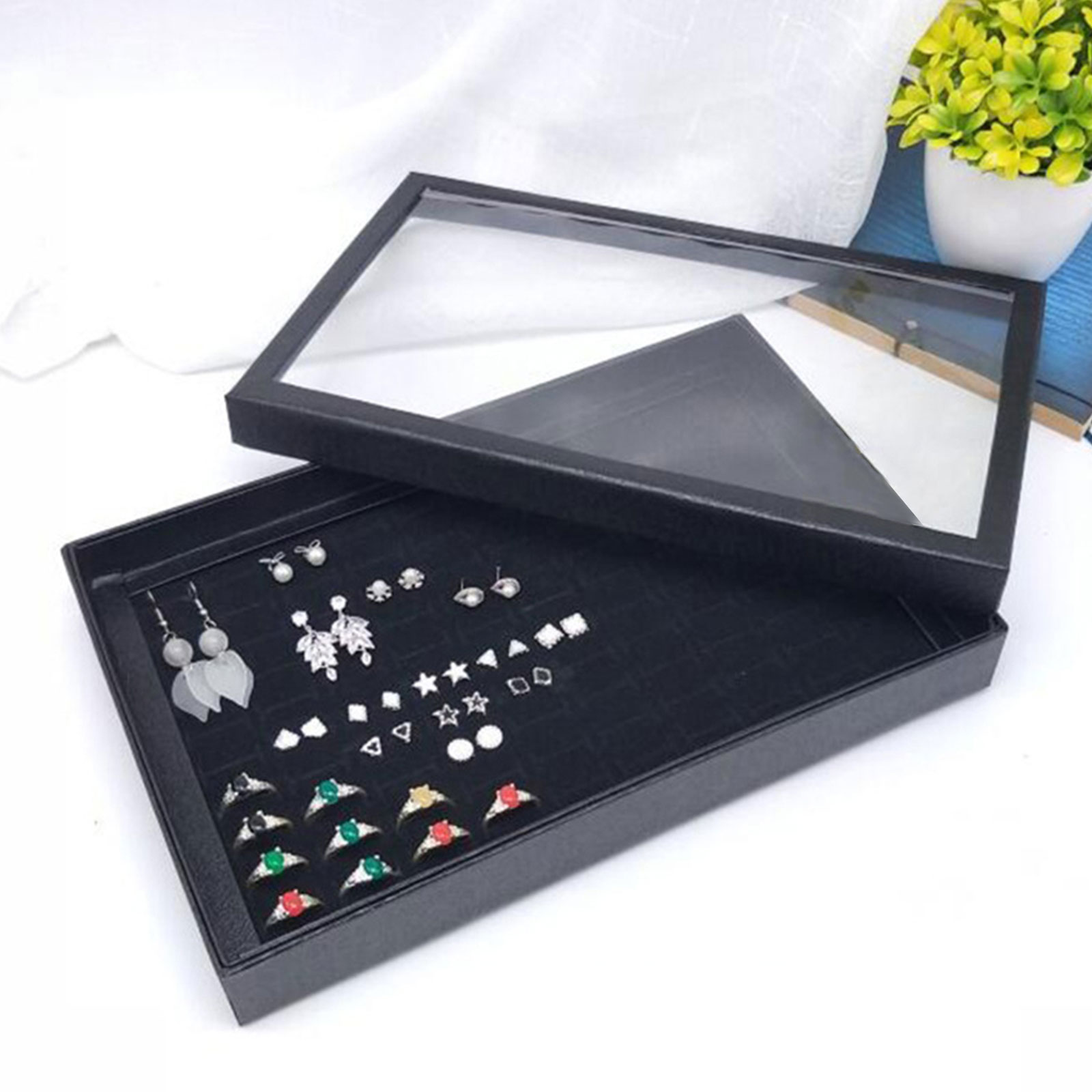 Fashion-Jewelry-Organizer-Box-Holder-Tray-Case-For-Ring-Earring-Storage-Display thumbnail 4