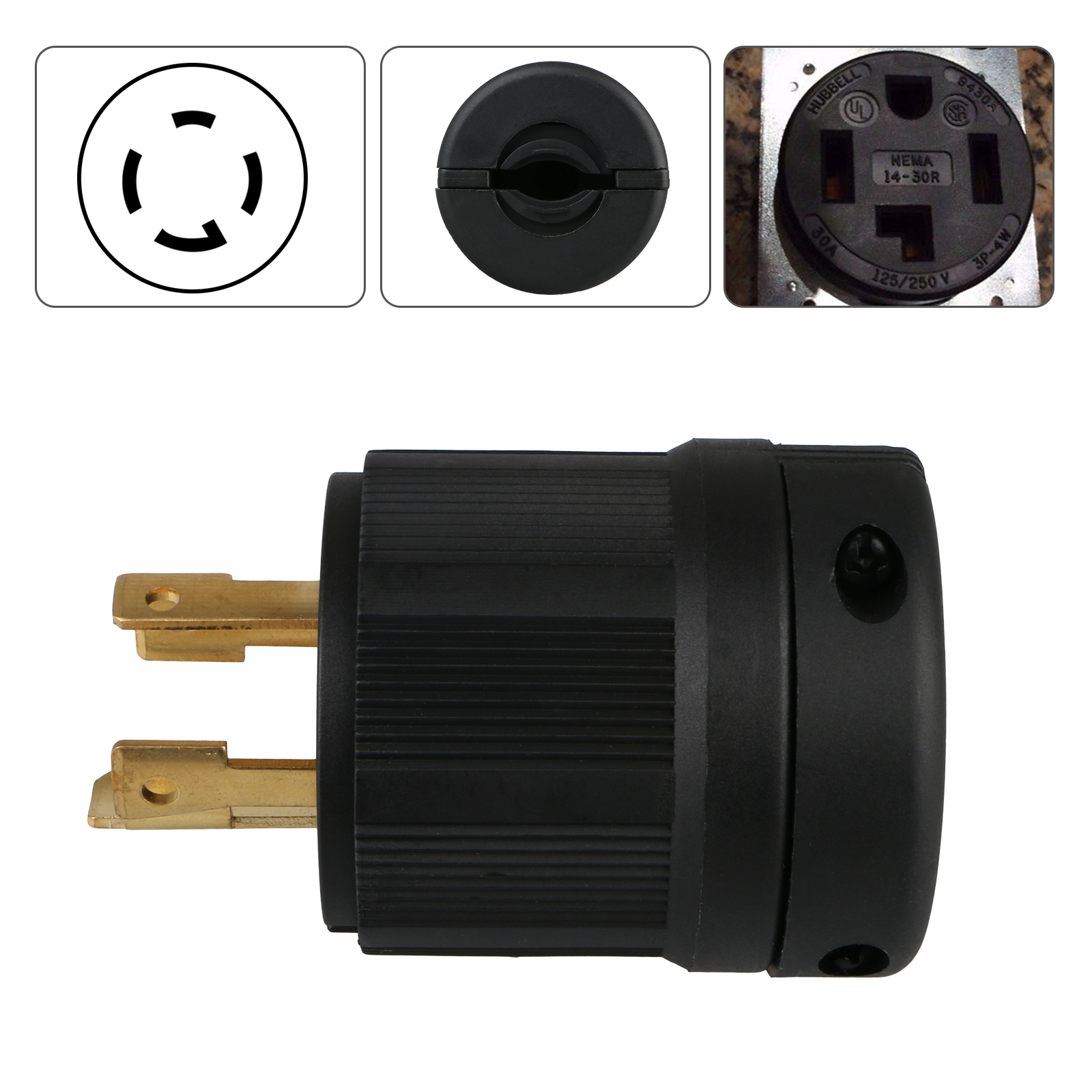 125v 250v 4 Wire Twist Lock Electric Male Plug Connector Nema L14 Wiring A L1430 Image Is Loading