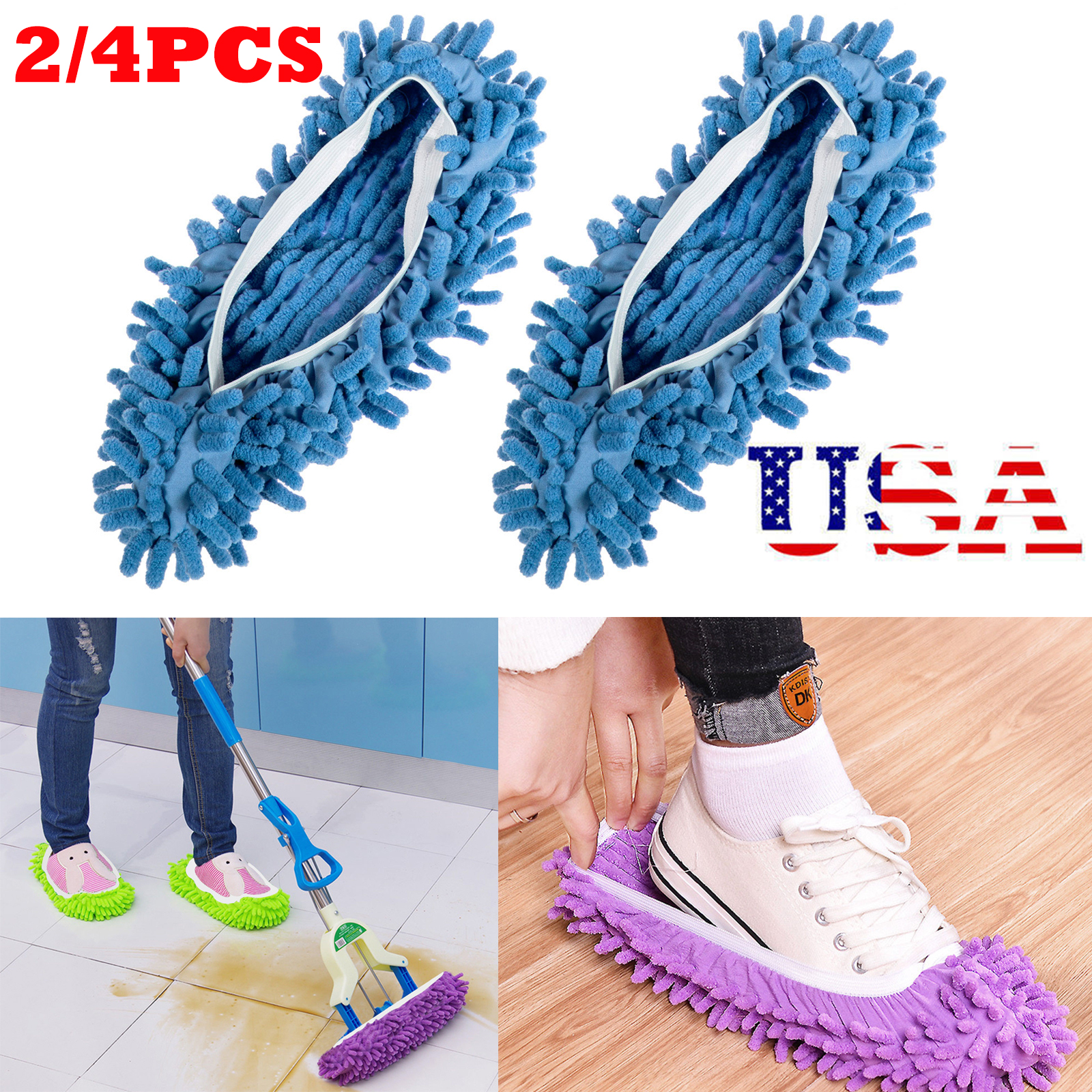 2-4Pcs-Mop-Slippers-Lazy-Floor-Foot-Socks-Shoes-Quick-Polishing-Cleaning-Dust