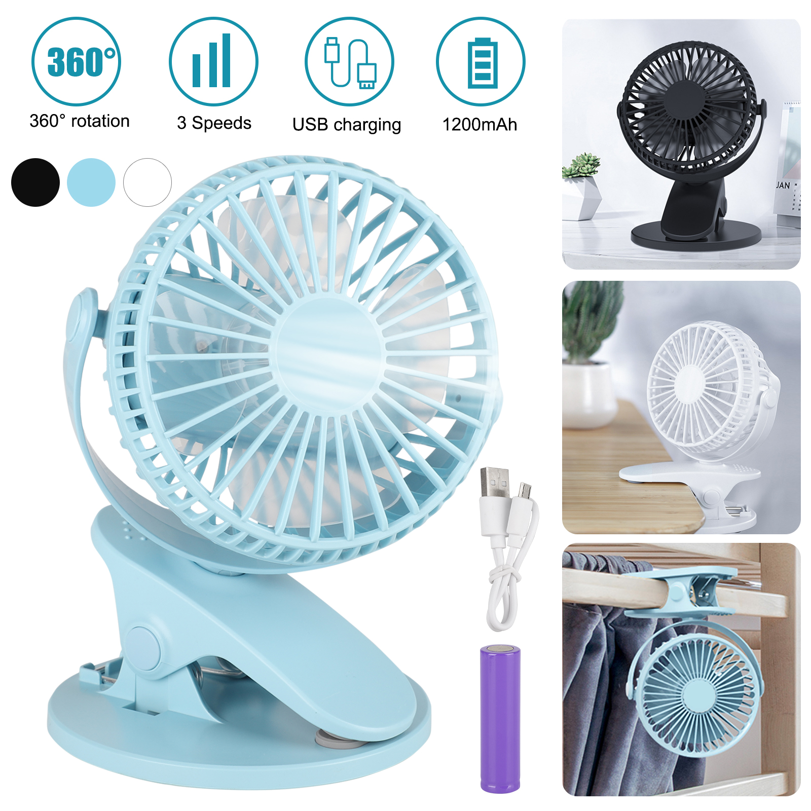 Portable USB Rechargeable Cooling Mini Fan Clip On Desk Baby