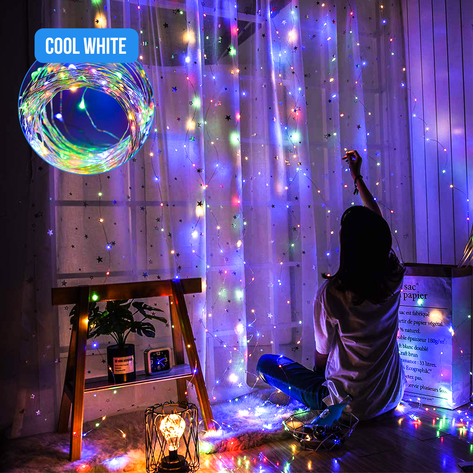 300LED-Party-Wedding-Curtain-Fairy-Lights-USB-String-Light-Home-w-Remote-Control thumbnail 11