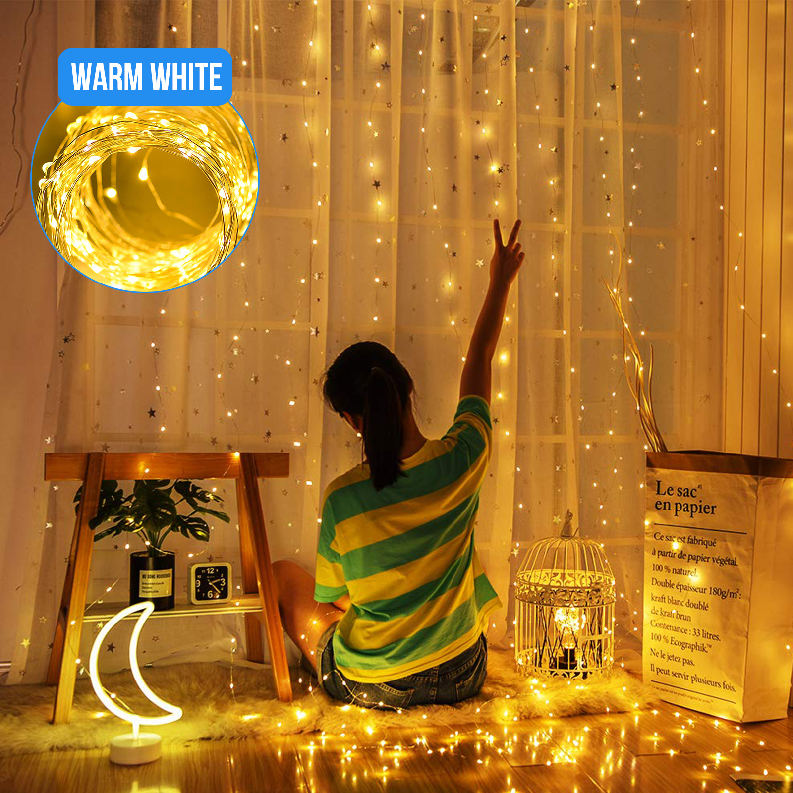 300LED-Party-Wedding-Curtain-Fairy-Lights-USB-String-Light-Home-w-Remote-Control thumbnail 12