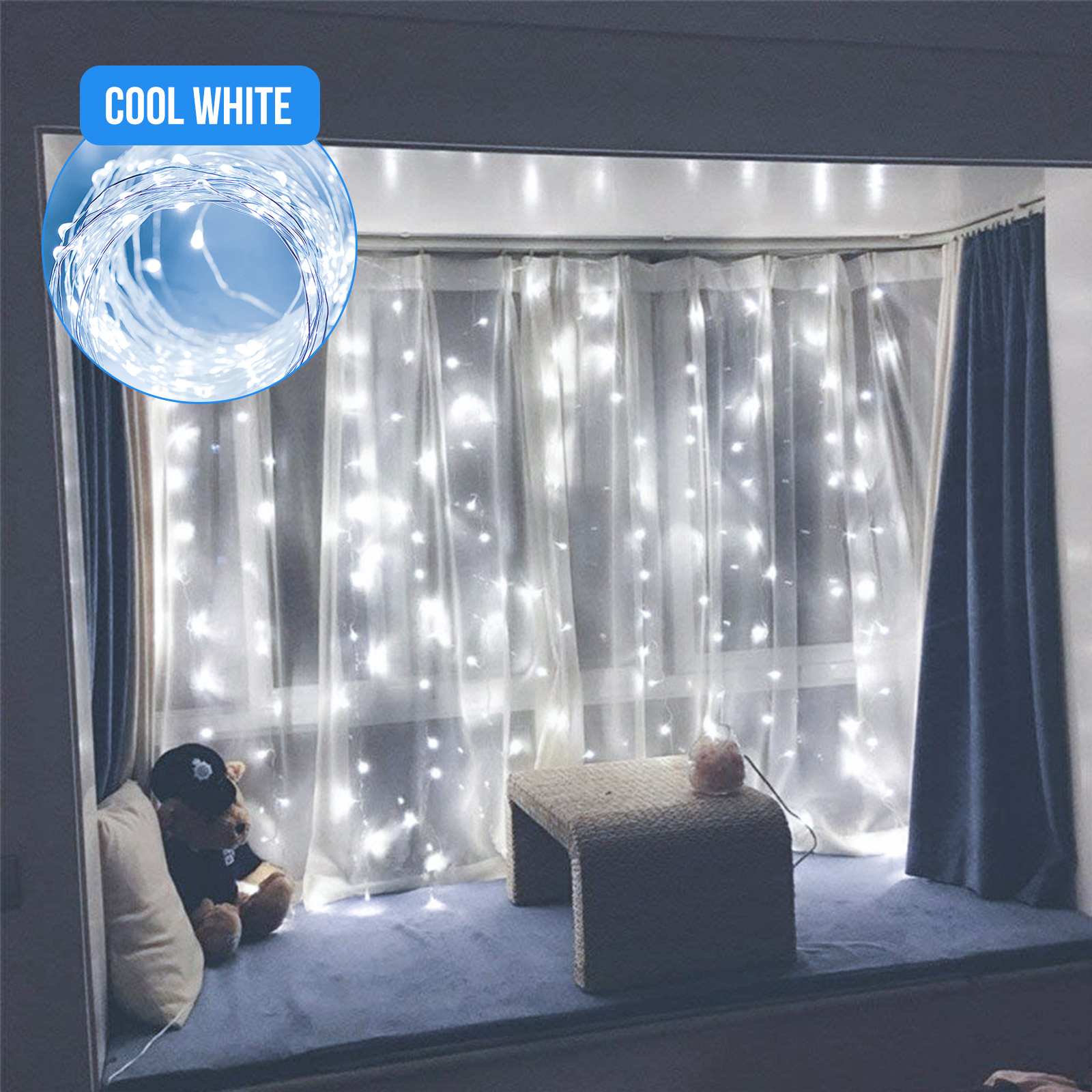 300LED-Party-Wedding-Curtain-Fairy-Lights-USB-String-Light-Home-w-Remote-Control thumbnail 13