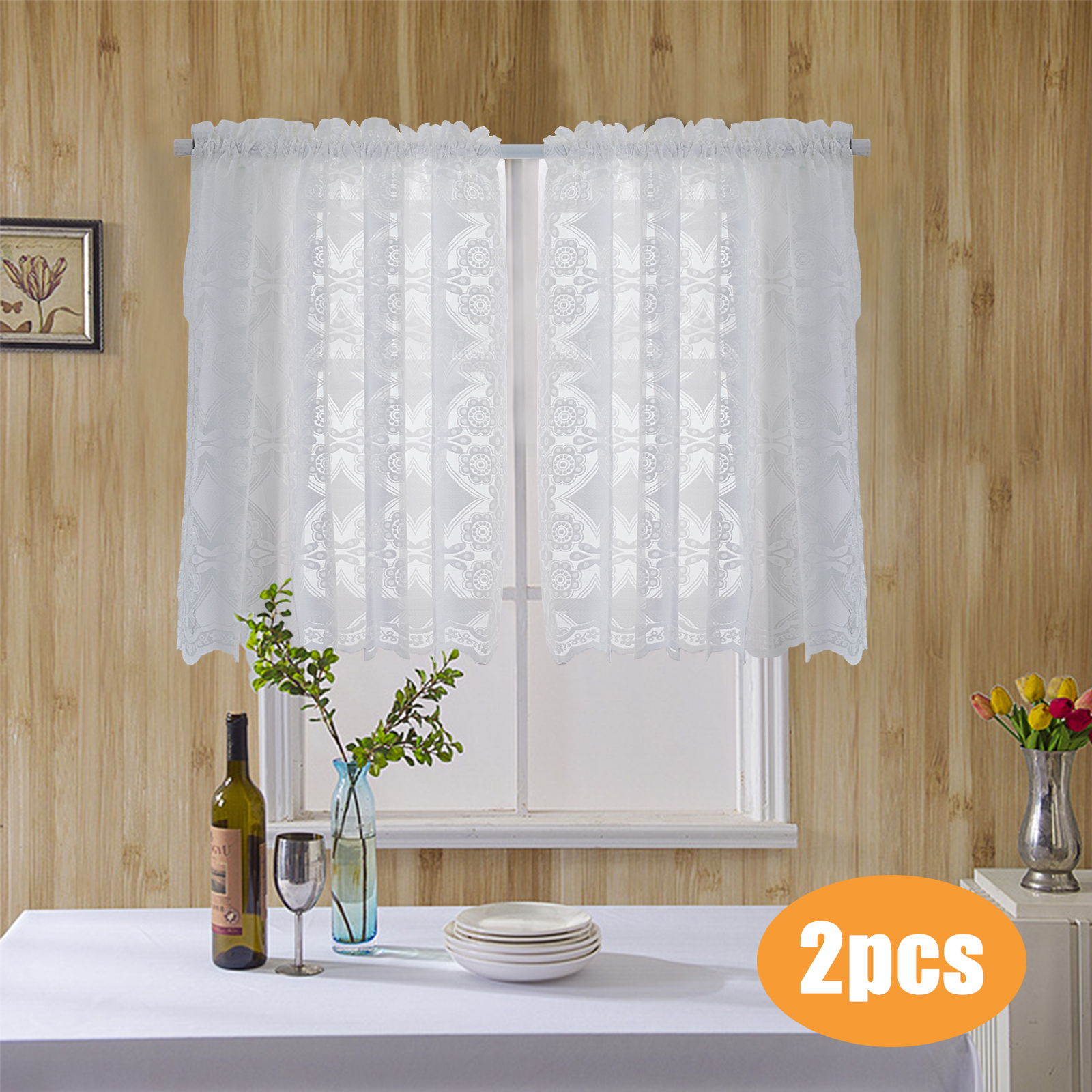 Window Curtain Checked Sheer Voile Kitchen Curtain Cafe Lace