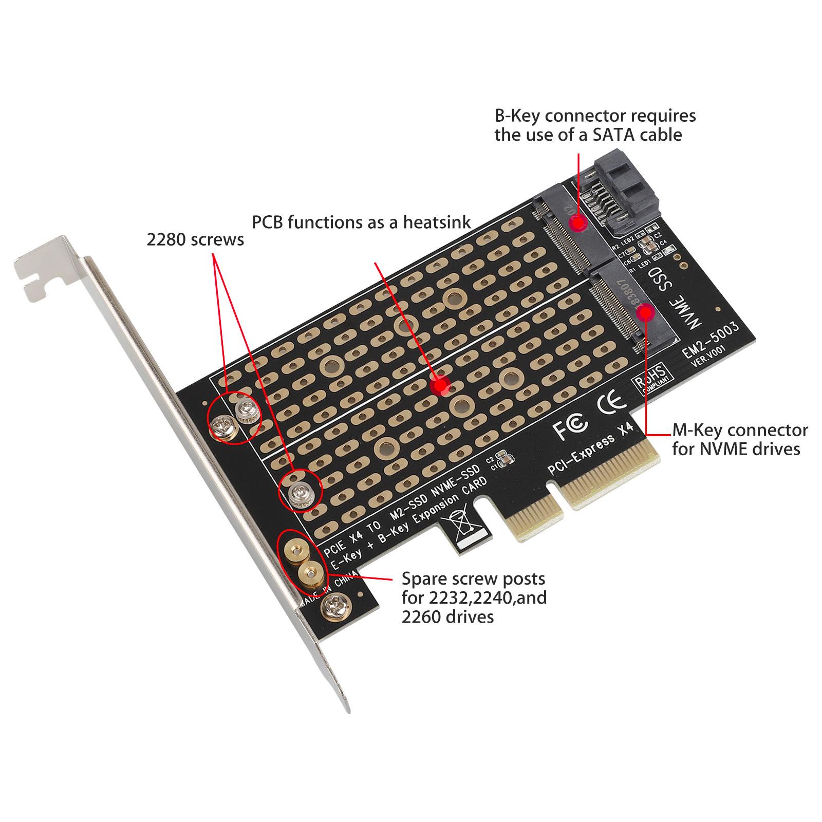 M-2-NGFF-to-Computer-SATA-Dual-SSD-PCI-PCIe-x4-x8-x16-NVMe-Express-Adapter-Card thumbnail 3