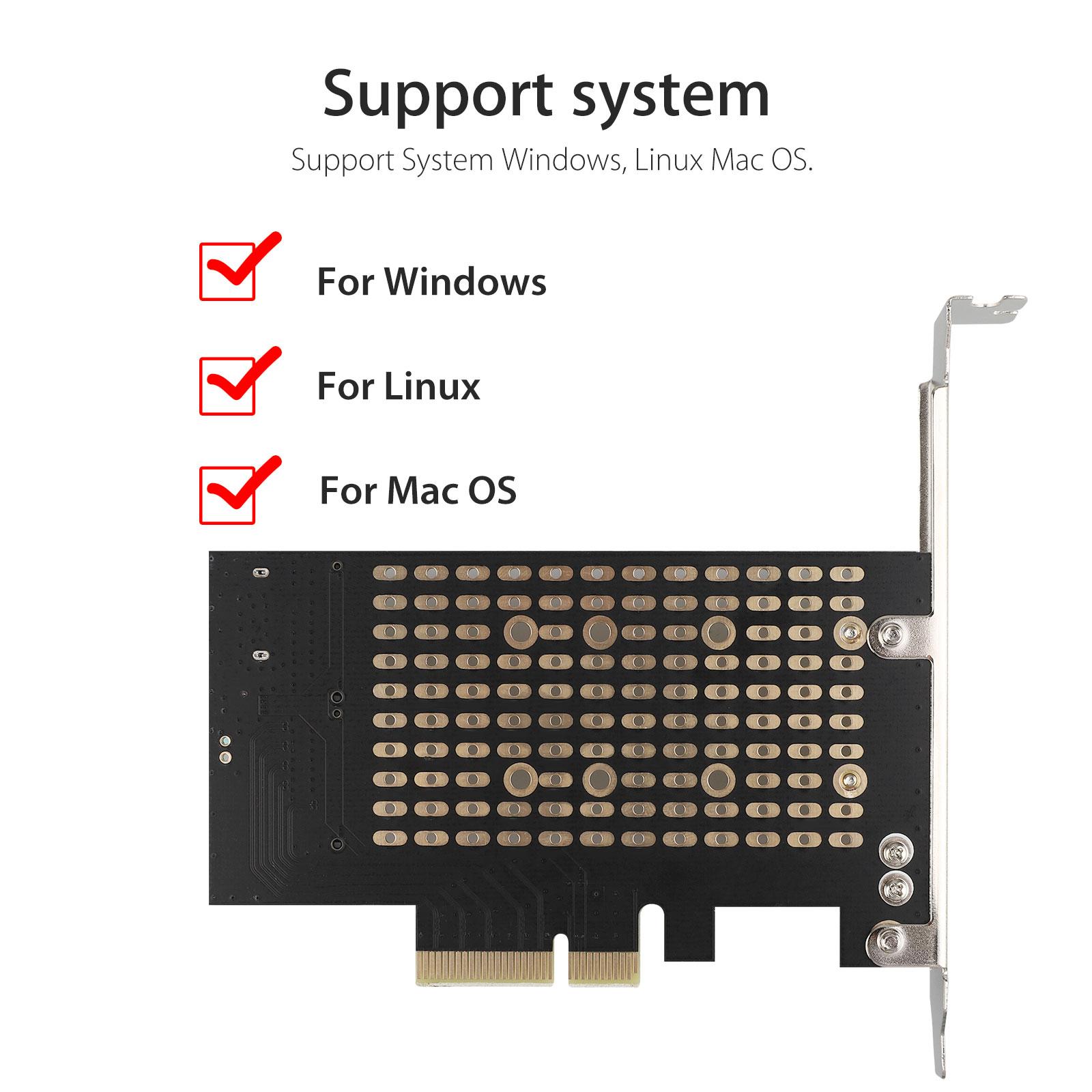 M-2-NGFF-to-Computer-SATA-Dual-SSD-PCI-PCIe-x4-x8-x16-NVMe-Express-Adapter-Card thumbnail 4