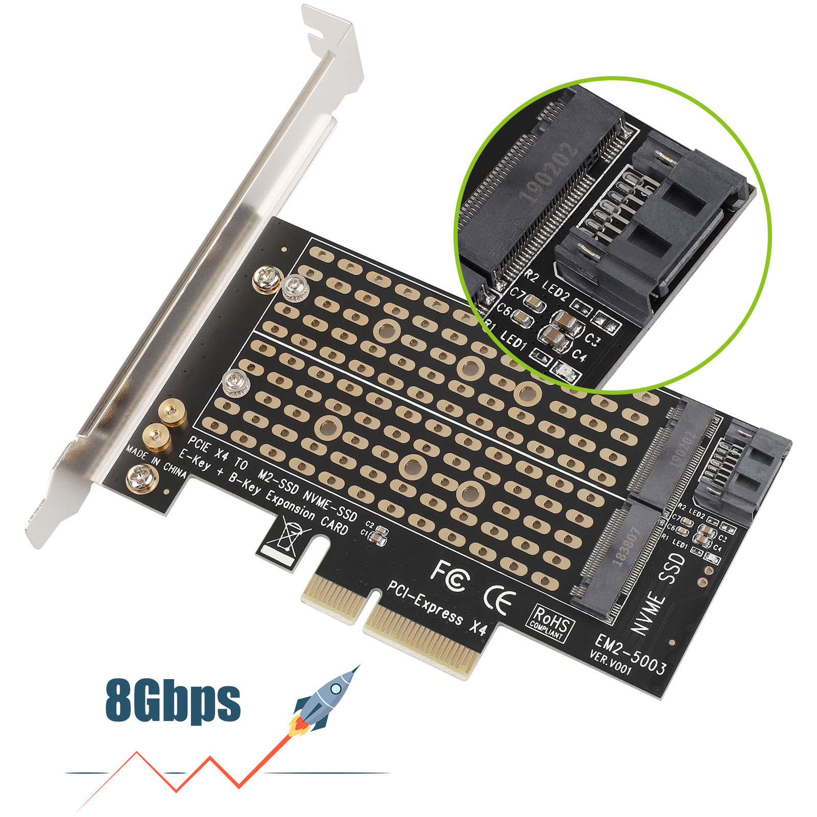 M-2-NGFF-to-Computer-SATA-Dual-SSD-PCI-PCIe-x4-x8-x16-NVMe-Express-Adapter-Card thumbnail 6