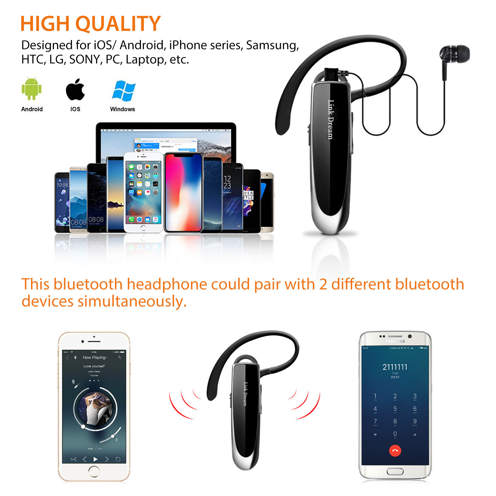 Bluetooth Headset Wireless Headphone With Mic For Ps3 Cell Phone Pc Usa For Sale Online Ebay