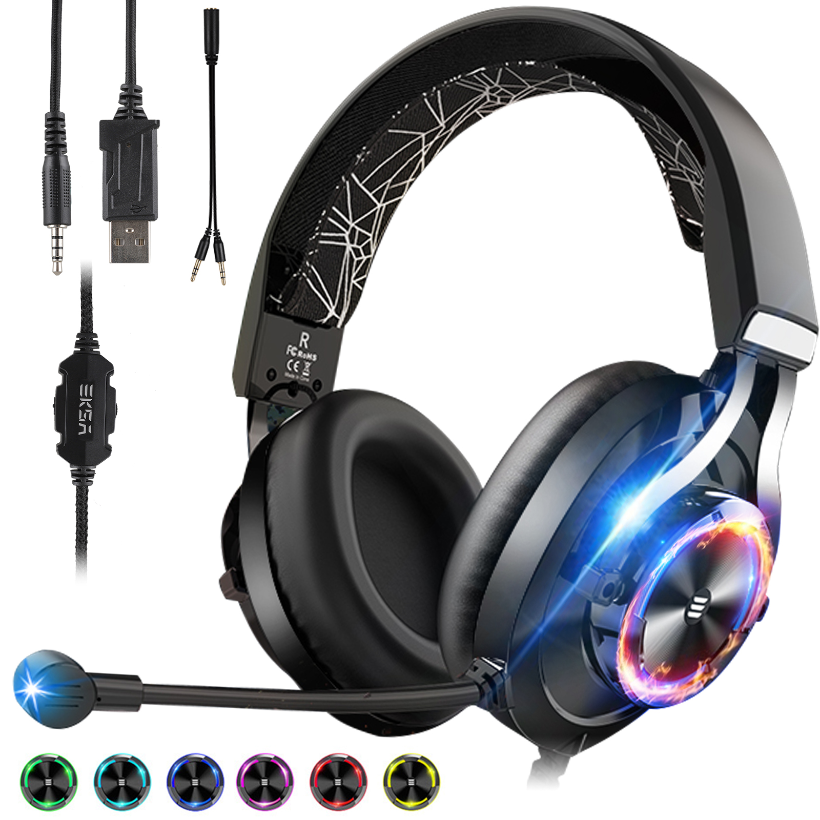 3 5mm gaming headset with mic led