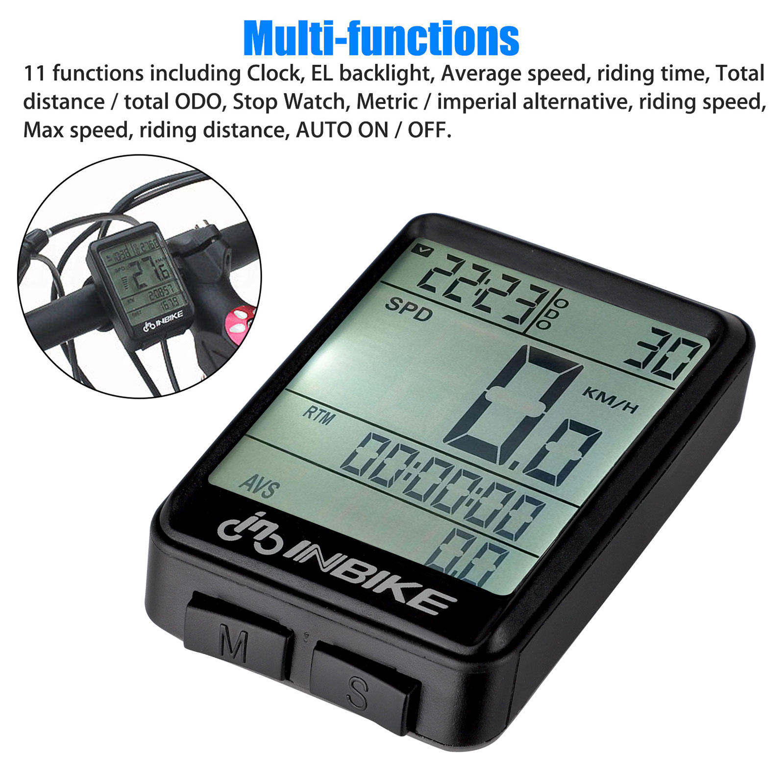 Wireless Lcd Digital Cycle Computer Bicycle Bike Backlight