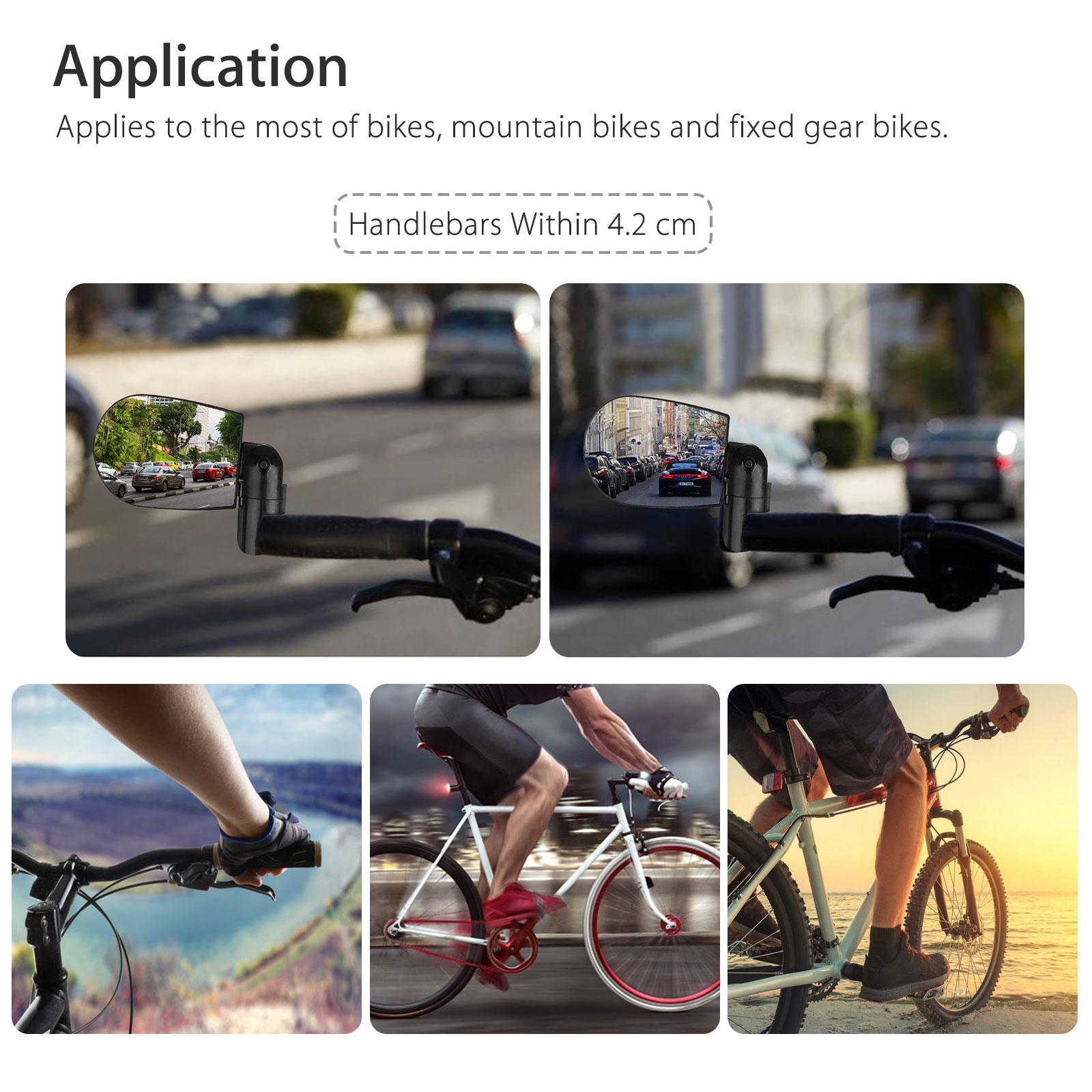 360° Rotate Universal Handlebar Rearview Mirror Bike MTB for Bicycle Cycle