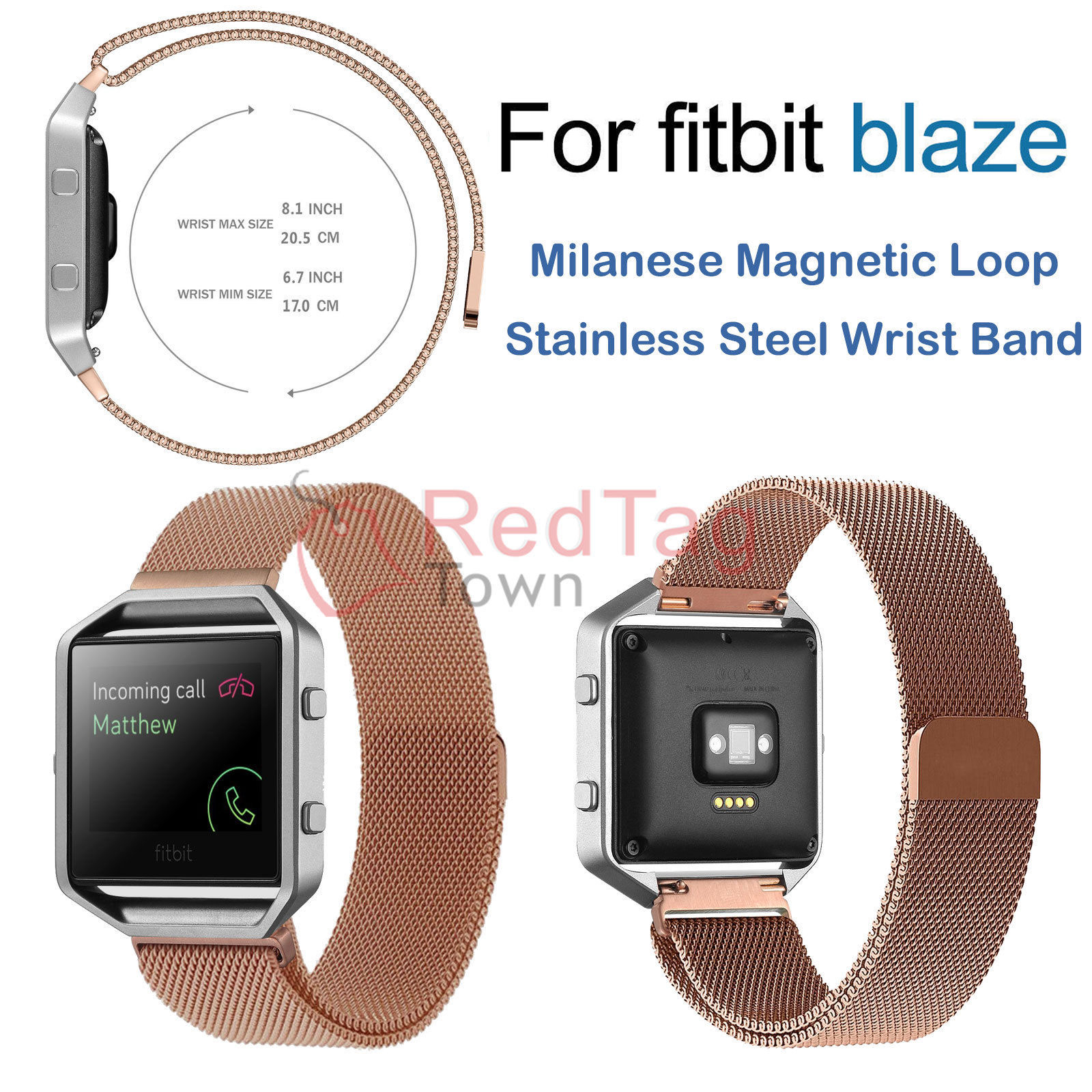 Milanese-Magnetic-Loop-Metal-Wrist-Watch-Band-Strap-Replacement-For-Fitbit-Blaze thumbnail 15