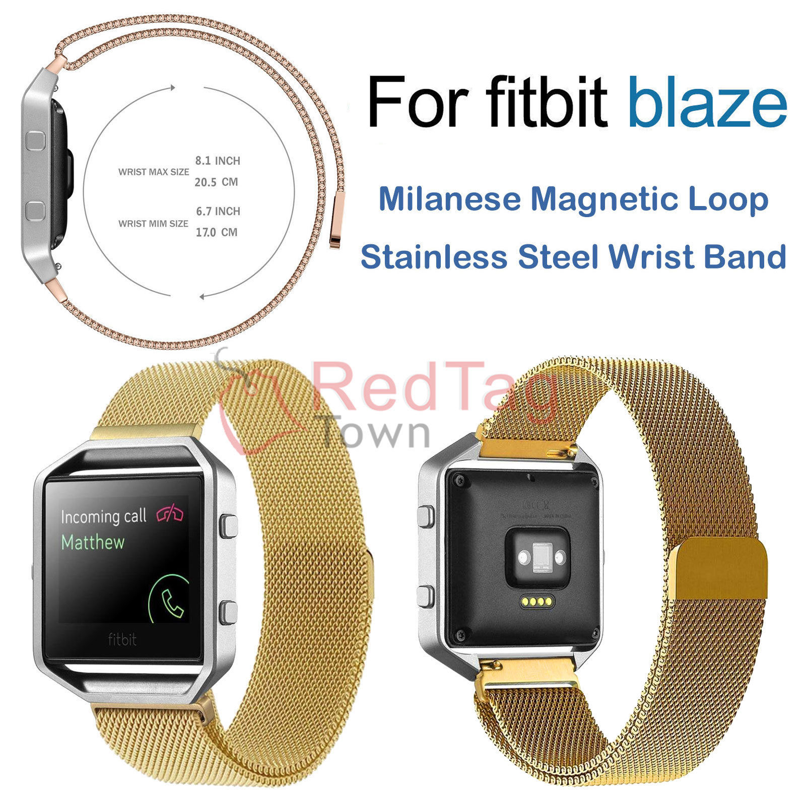 Milanese-Magnetic-Loop-Metal-Wrist-Watch-Band-Strap-Replacement-For-Fitbit-Blaze thumbnail 12