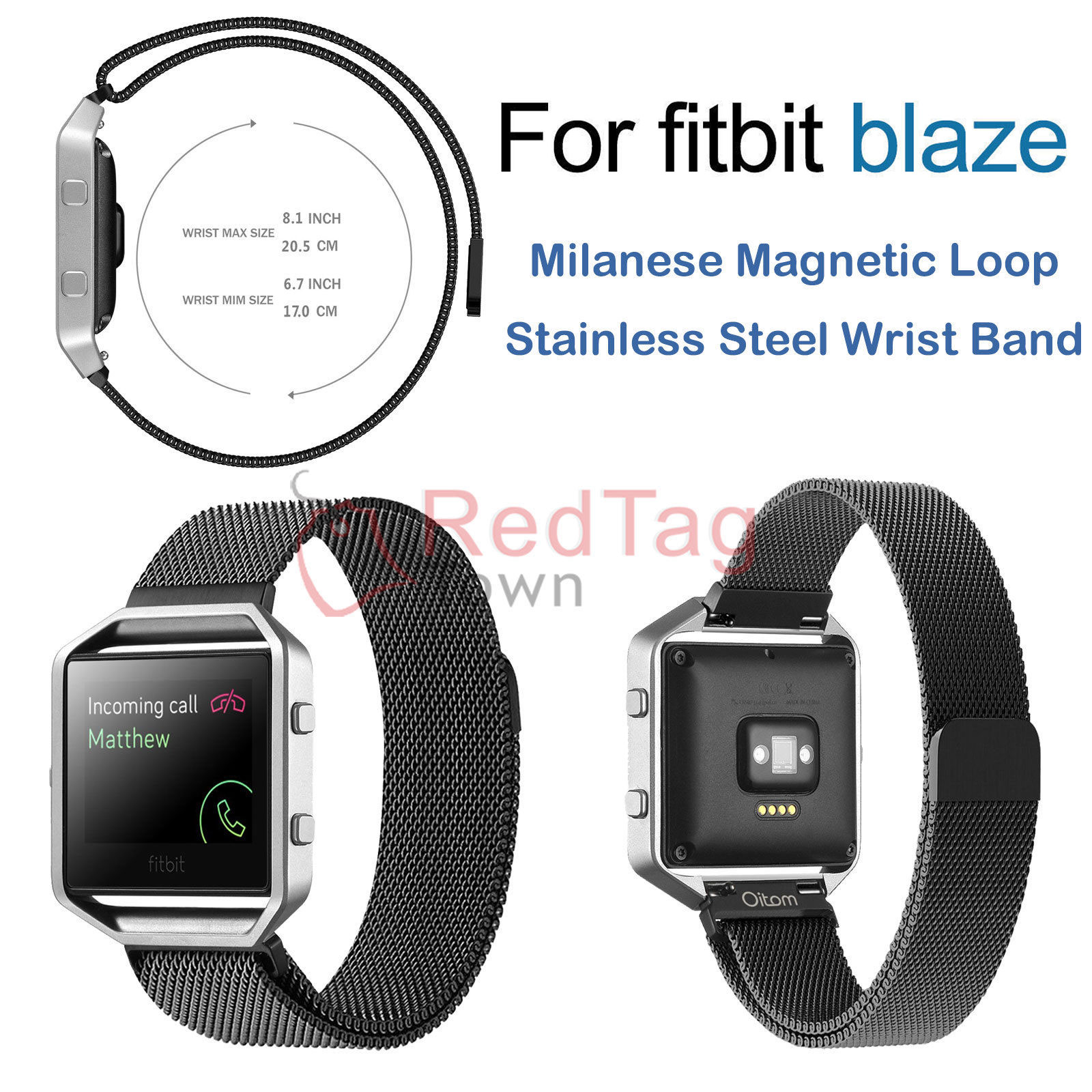 Milanese-Magnetic-Loop-Metal-Wrist-Watch-Band-Strap-Replacement-For-Fitbit-Blaze thumbnail 9