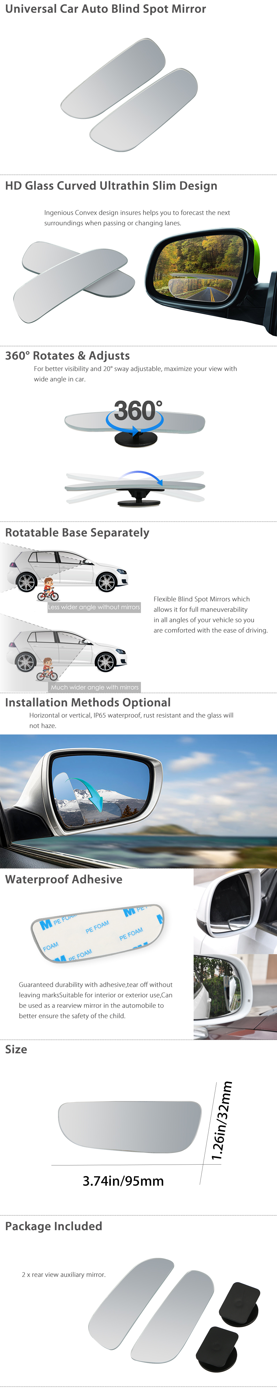 Wide Angle Cars Adjustable Auxiliary Rearview Blind Spot Mirrors Car HD Vehicle