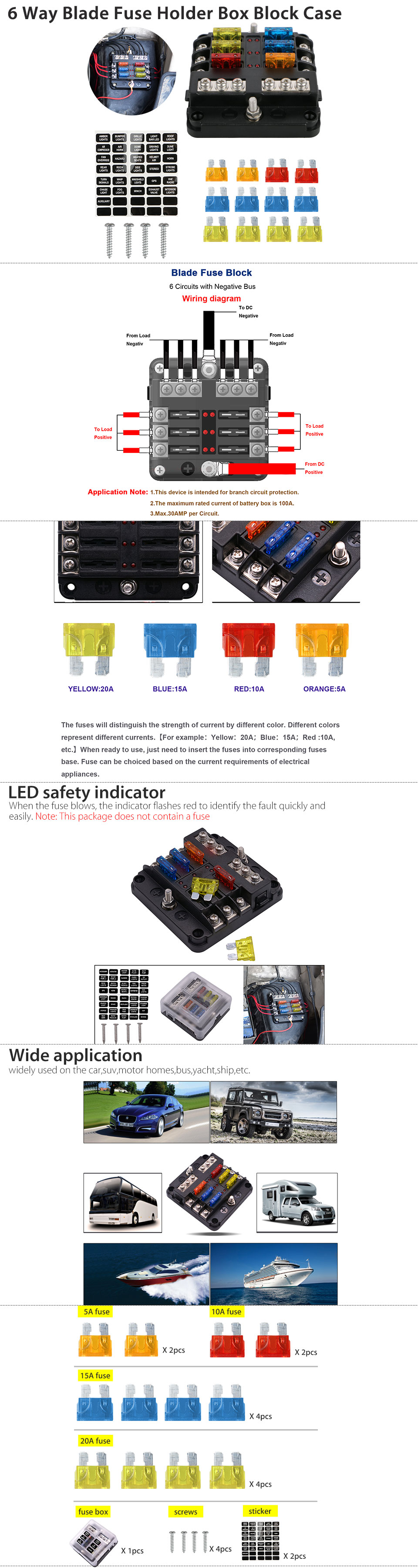 6 Way Blade Fuse Holder Box Block Case 12v 24v Car Truck Boat Marine Bus Product Features