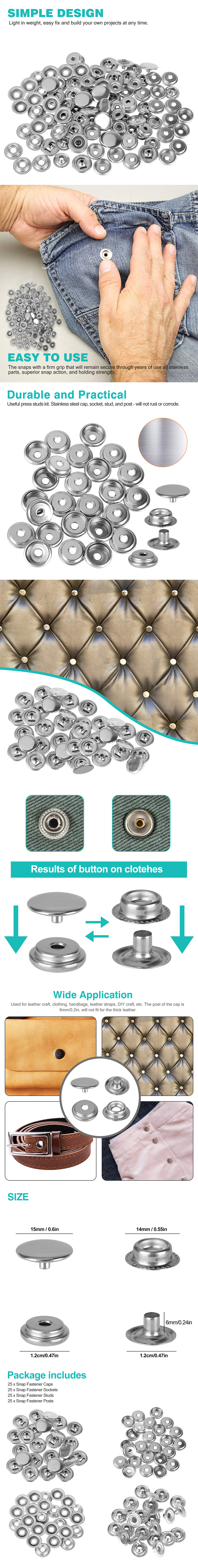 100PCS Stainless Steel Snap Fastener Kit for Boat Canvas Screw Press Stud Cover