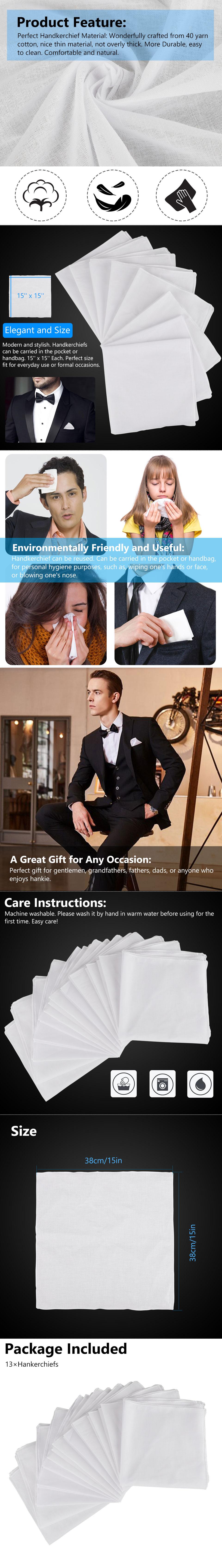 Handkerchiefs 100/% Cotton Classic Hankies 13 PCS Hankerchief Hanky Pocket Gift