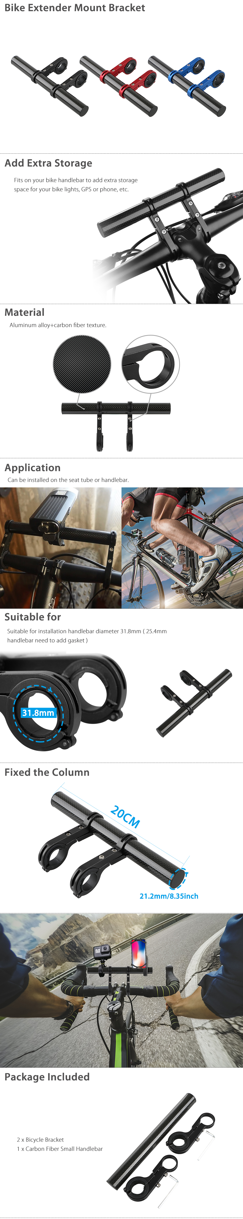 MTB Bike Flashlight Holder Handle Bar Bicycle Accessories Extender Mount Bracket