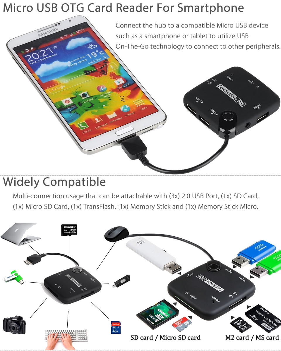 Micro Usb Host Adapter Otg Cable Sdhc Sd Tf Card Reader Hub For Smart Connection Kit Smartphone