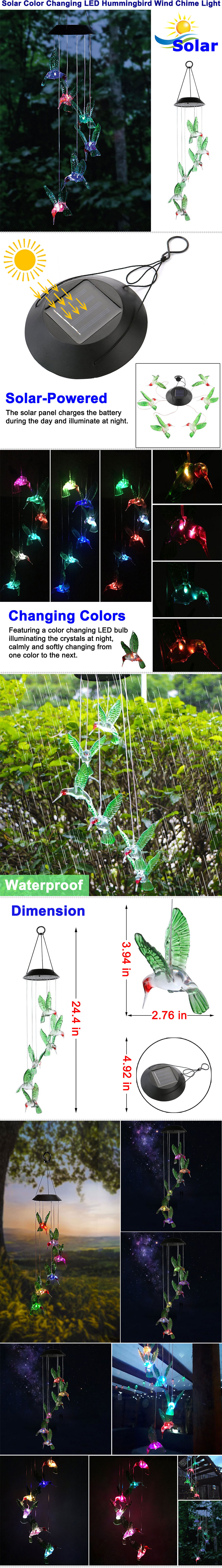 Solar Color Changing LED Hummingbird Wind Chimes Home Garden Decor ...